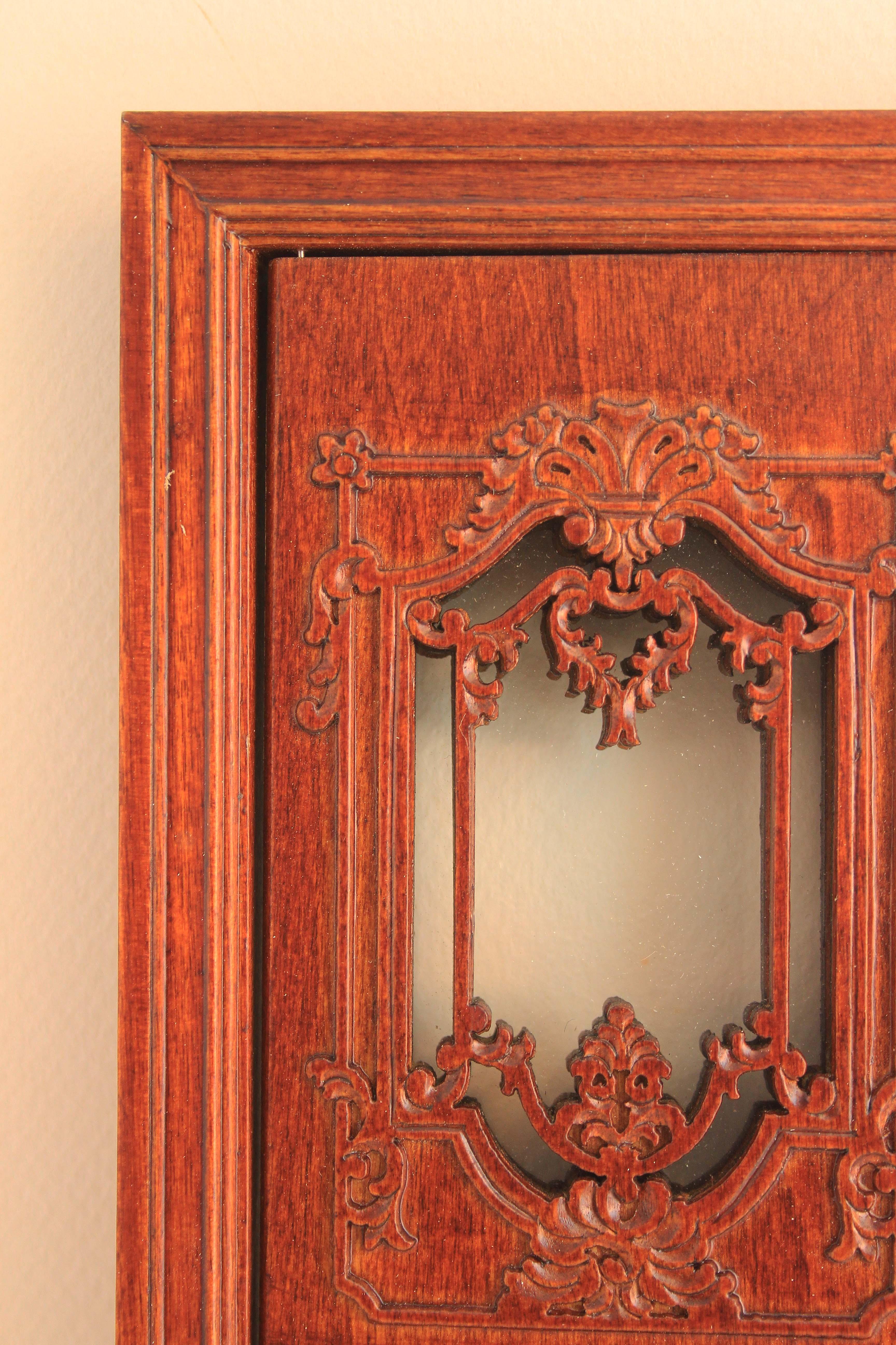 Single Dollhouse Door Walnut Finish With Micro Glass
